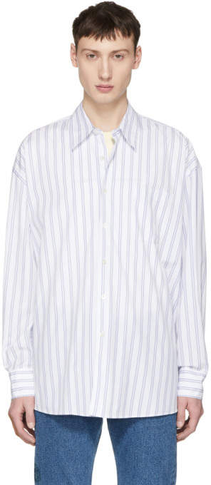 Our Legacy White and Blue Stripe Borrowed Classic Shirt