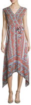 Shoshanna Silk Printed Cap Sleeve Maxi Dress
