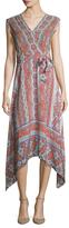 Shoshanna Silk Printed Cap Sleeve Maxi Dress