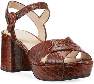 Prada Crocodile-Print Crisscross Sandals