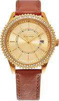 SO & CO New York Women's Leather and Crystal Watch