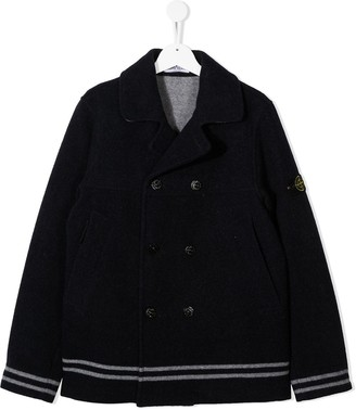 Stone Island Junior Button-Up Wool Coat
