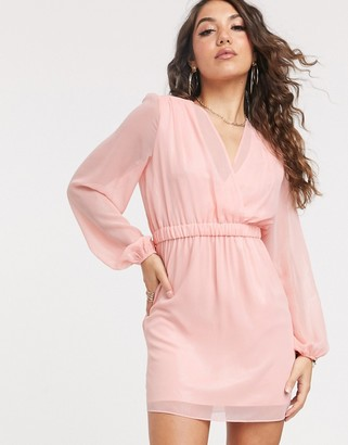TFNC gathered long sleeve foil mini dress-Pink