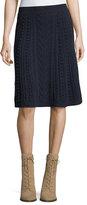 Valentino Garavani A-Line Wool Skirt, Navy