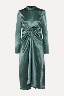Sies Marjan Nara Ruched Satin Dress - Gunmetal