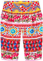 Dolce & Gabbana Girl slim fit printed cropped pants Maiolica