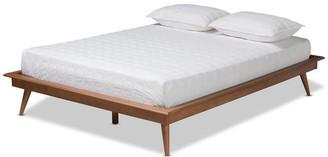 Baxton Studio Ciera Mid-Century Modern Walnut Brown Wood Queen Platform Bed Frame