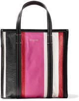 Balenciaga Bazar Small Striped Textured-leather Tote - Pink