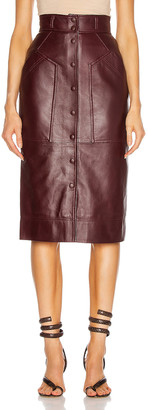 Alberta Ferretti Leather Button Skirt in Brown | FWRD