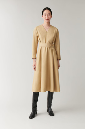 Cos Belted Dress With Pleats