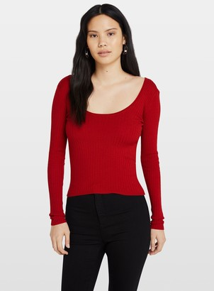 Miss Selfridge Red Tie Back Ribbed Knitted Top