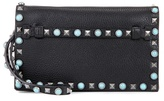 Valentino Garavani Embellished leather clutch bag
