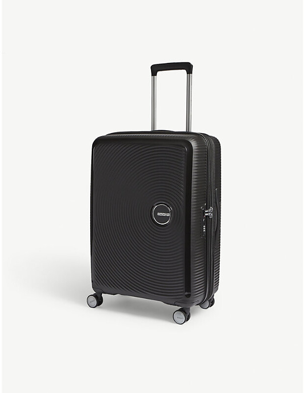 American Tourister Bass Black Soundbox Expandable Four Wheel Suitcase, Size: 67cm