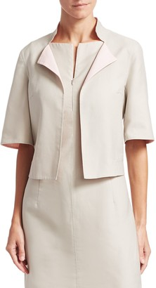Akris Punto Aloe Reversible Short Sleeve Cotton Jacket