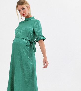 ASOS DESIGN Maternity midi jacquard dress with belt