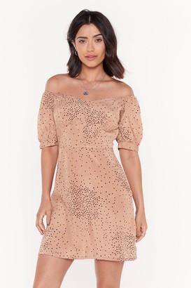 Nasty Gal Womens Spot Polka Dot Off Shoulder Button Dress - Beige - 6, Beige