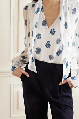 Jason Wu Tie-neck Floral-print Silk-crepon Blouse - Ecru