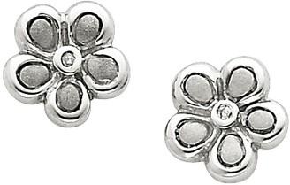 Sterling Diamond Accent Satin Flower Post Earrings