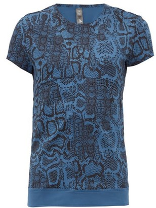 adidas by Stella McCartney Snake-print Technical Jersey T-shirt - Blue Print