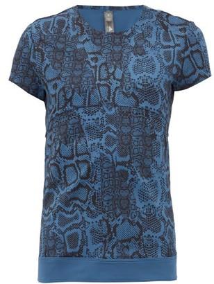 adidas by Stella McCartney Snake-print Technical Jersey T-shirt - Womens - Blue Print