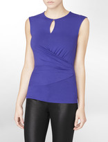 Calvin Klein Purple Sleeveless + Ruched Keyhole Top