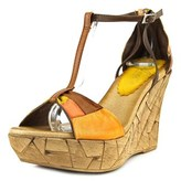 Azura Immix Women Open Toe Leather Brown Wedge Sandal.