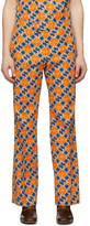 Gucci Orange and Blue GG Quatrefoil Trousers