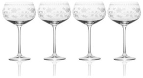 Mikasa Vintage-like Floral White Wine Glasses, Set of 4