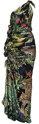 Dolce & Gabbana Sicilian Jungle-Print One-ShoulderCharmeuse Side-Tie Maxi Dress