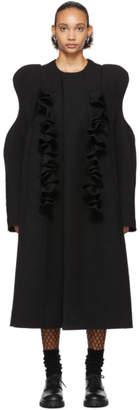 Comme des Garcons Black Wool Sculpted Shoulder Ruffles Coat