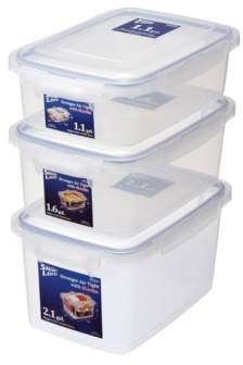 Lustroware Large Sealed Food Storage Container, Set of 3