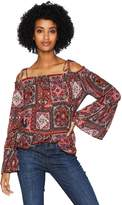 Serene Bohemian Women's Frilled Sleeve Off-Shoulder Printed Top XS Multi Coloured