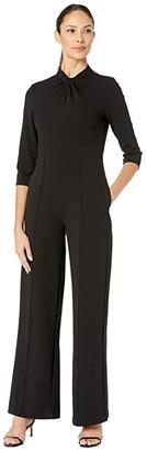 Donna Morgan 3/4 Sleeve Twisted Neckline Crepe Jumpsuit (Black) Women's Jumpsuit & Rompers One Piece
