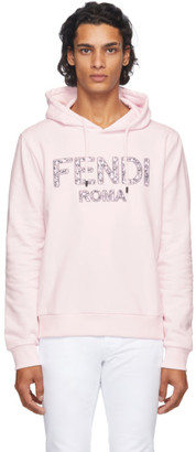 Fendi Pink Embroidered Logo Hoodie
