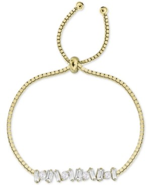 Argentovivo Cubic Zirconia Baguette Cluster Bolo Bracelet in Gold-Plated Sterling Silver