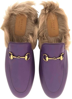 Gucci Princetown Purple Leather Flats
