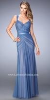 La Femme Two Tone V Shape Open Back Prom Gown