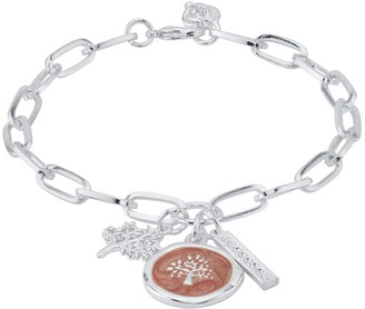 "Love This Life ""Family"" Cubic Zirconia Tree & Bar Charm Bracelet"