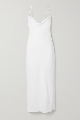 Jacquemus La Robe Adour Draped Twill Midi Dress - White