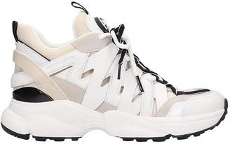 Michael Kors Hero Trainer Sneakers In Beige Leather