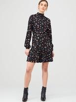 Very High Neck Blouson Mini Dress - Floral Print
