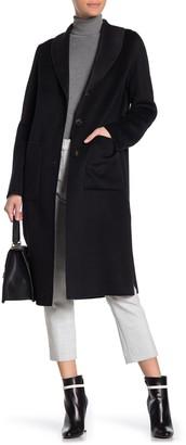Tahari Jenna Two Tone Wool Blend Coat
