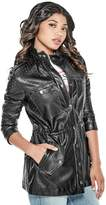 GUESS Women's Edison Perforated Faux-Leather Jacket