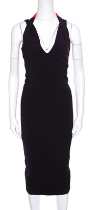 Victoria Beckham Navy Blue Contrast Trim Plunge Neck Halter Dress M