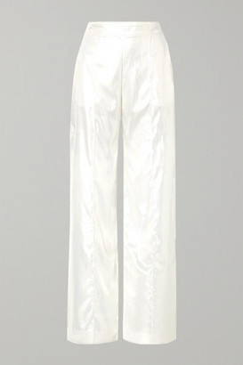 Michael Lo Sordo Metallic Velvet Wide-leg Pants - Ivory