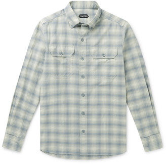 Tom Ford Slim-Fit Button-Down Collar Checked Washed Cotton-Flannel Shirt