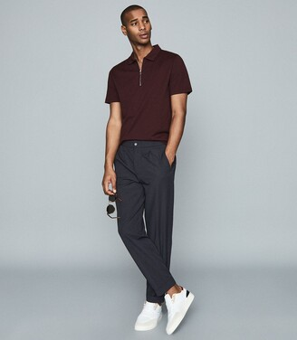 Reiss Jack - Textured Zip Neck Polo Shirt in Bordeaux
