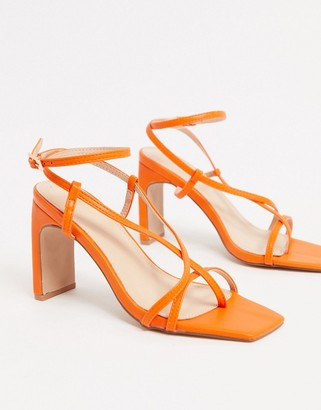 Pimkie square toe strappy heeled sandals in orange