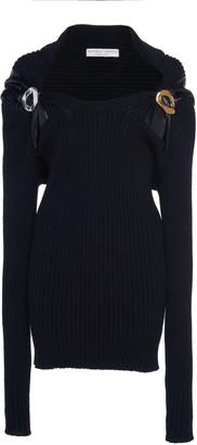 Bottega Veneta Leather-Trimmed Ribbed Wool Sweater