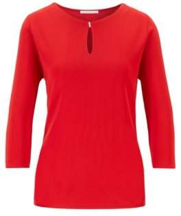 BOSS Crepe jersey top with keyhole neckline